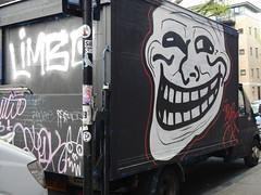 Trollface van (C_Oliver) Tags: england london nw1 camdentown arlingtonroad graffiti streetart van vehicle truck lorry troll face trollface umadbro camden