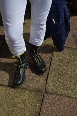 Docs plus White Jeans Pentax K5II_7331 (Stevecollection2008) Tags: drmartenssteeltoe1940zblackfinehaircell tommyhilfigerstokesjeans knoxarmoury flightjacket bomberjacket straps smcpentaxfa2890mmf3556 selfportrait mar2017 cwu 14hole yellowlaces