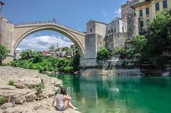 a beautiful day, Mostor (HiROaK SaNEyoCiy) Tags: europe euro bridge mostor bosnaihercegovina bosniaandherzegovina river daytime easterneuro pentax k5ⅱ k52 girl beautiful