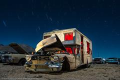 Glamping Minus One (dejavue.us) Tags: lightpainting longexposure camper nightphotography nikon junkyard d800 180350mmf3545 cadillac startrails fullmoon mojavedesert nikkor abandoned california vle
