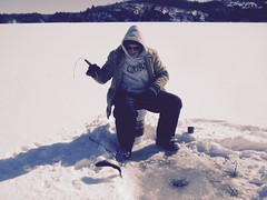 Frank lands a splake (REGOR NOTPUL) Tags: upper rock lake splake ice fishing reciprocity failure too much light