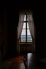 Quel giorno non ebbi voglia di uscire... (SoleTempesta) Tags: finestra buio ombra luce colline nuvole castello govone stanza soletempesta legno tende balcone pensieri clouds hills verde green malinconia window castle cuneo piemonte