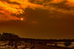 . (Rambonp:loves all creatures of this universe.) Tags: chandigarh sunset dimness sundown twilight evening sun mountains yellow touristplace trees sky clouds nature crop orange red landscape wallpaper paradise silhouette india silhouettecanon sukhnalake birds sortie dark boat