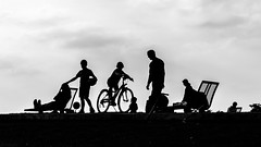 Décalcomanie (deborahb0cch1) Tags: monochrome outdoor blackandwhite noiretblanc silhouettes children silhouette games bicycle play playing childrenplaying
