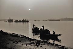 Kolkata (paola ambrosecchia) Tags: kolkata india sunset boat river fiume sky shadow reflection light magic beautiful amazing bnw blackandwhite monochrome mood surreal