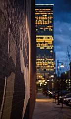 Building Bokeh (brev99) Tags: nikon50mmf18d d610 bradyartsdistrict wall shallowdof bokeh bokehcircles building street tulsa perfecteffects17 ononesoftware on1photoraw2017 night lowlight lights