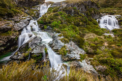 Routeburn Falls (inkasinclair) Tags: new zealand falls routeburn waterfall hiking water white power sunset sun evening hut trekking tramping cascades cascade mountains alpine south island glenorchy milford track landscape nature natural beauty nikon d7200 rocks trees