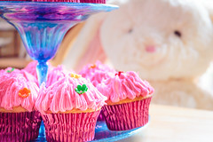 Cupcakes and Easter Bunny (jeanettefellows) Tags: cupcake cake pink frosting dessert food easter bunny stuffed animal