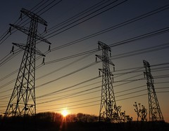 Triple Pylons at Sunset - Lynemouth (Gilli8888) Tags: northumberland lynemouth pylons powerlines angles geometric metal electricity nationalgrid sunset dusk sun silhouette silhouettephotography countryside linear three nikon p900 coolpix