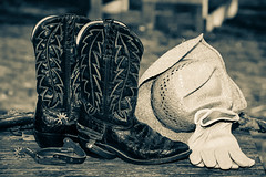 Finding My Inner Cowboy 1 (jah32) Tags: cowboy cowboys western hat cowboyhat boots cowboyboots spurs monochrome monochromatic blackandwhite bw blackwhite cmwdbw gloves workgloves