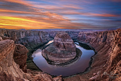 Sunset Observers (JusDaFax) Tags: horseshoe bend arizona az utah ut colorado river cliff canyon water beach sunset clouds color colorful west western desert reflection red wanderlust travel southwest traveltheusa