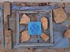 birthday present (maximorgana) Tags: margaretkeane theballoongirl box thegift blue zenit stone frame dirty trashbit present board wood