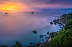 Magic sunset (EddieLin617) Tags: magic sunset cliff coastal ocean sea orange blue purple long exposure haven dramatic paradise