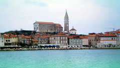 Piran from Boat  97_071 (Andras, Fulop) Tags: slovenia anno 1997 colorslide positivefilm archive landscape town sea water