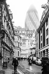 Looming (Mister Rad) Tags: nikond600 nikon50mmf14g london cityoflondon citystreets gherkin 30stmarysaxe blackandwhite