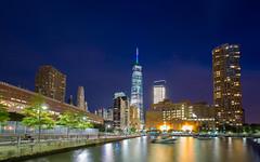 World Trade Center (Photos By RM) Tags: freedomtower worldtradecenter newyorkcity nyc manhattan newyork pier25 pier longexposure canon night bluehour evening