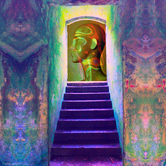 The Oracle is Silent (Lemon~art) Tags: oracle silent purple stairs wall door mannequin head gold manipulation mystery magic prophecy unpredictable future