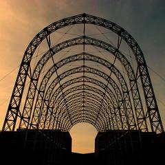 Framework (Arni J.M.) Tags: arches portableairshiphangar farnboroughairfield framework steel cables sky silhouette farnborough england uk