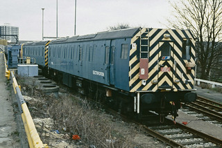 Class 97/7 97706 & 97705 both in BR blue livery are seen at Hornsey Depot during a NREA visit 16-03-1991.