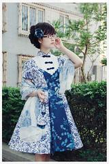 Blue and White Flower Prints Lolita OP Dress (lindasunx) Tags: dress lolita lolitadress lolitadresses