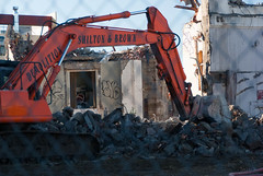 Getting Struck In (Jocey K) Tags: newzealand christchurch sky architecture fence buildings shadows tags demolition digger rubble demolitionofthemajestictheatre