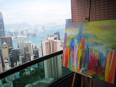 Hong Kong: Art & Reality. 2014 by Stephen B Whatley (Stephen B. Whatley) Tags: china trees sky mountains art water architecture painting boats island hongkong islands artist cityscape skyscrapers rooftops harbour contemporaryart modernart balcony ships buckinghampalace bbc highrise expressionism botanicalgardens ifc soe hsbc toweroflondon oilpainting artbasel blueribbonwinner speedboats ifcbuilding whatley victoriaharbourhongkong abigfave anawesomeshot theunforgettablepictures goldstaraward stephenbwhatley theroyalcollection artiststephenbwhatley artbaselhongkong artbasel2014