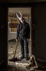 Bunny Slasher (rpm pictures) Tags: portrait bunny abandoned dan costume newjersey scary blood mask decay nj creepy spooky doorway killer gore horror macabre ax rpm gory 2014 slasher waretown route9 rpmphotography ryanpaulmarchese ryanpaulmarchesephotography