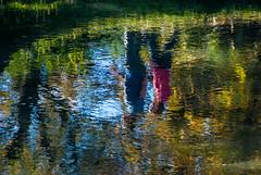 Lady in Pink (Jocey K) Tags: autumn newzealand christchurch water reflections colours nz avon avonriver christchurchbotanicgardens