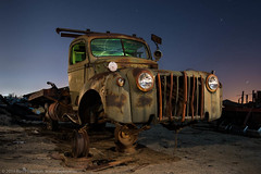 Balancing Act (dejavue.us) Tags: california longexposure nightphotography lightpainting ford abandoned truck nikon fullmoon junkyard nikkor 1947 d800 1835mmf3545d vle