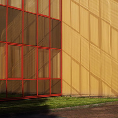 (Delay Tactics) Tags: windows light red orange reflection grass corner square gold explore chevron tankersley itab