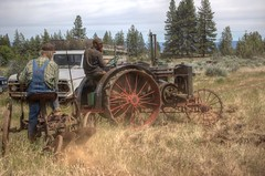 """Willie and son running plow with antique Case tractor HDR (Darron Birgenheier) Tags: old tractor classic field work vintage handy liberty outdoors freedom early diy folkart antique working rusty tools dirty steam collection machinery pasture workshop highdesert rusted castiron inventor oldtimer junkyard scrapyard plow machines agriculture ornate decrepit libertarian filthy plowing scrap hardwork pinetrees hdr highdynamicrange juniper waterwheel woodworking steamengine retirement sagebrush cloudysky metalworking countrylife furrows diligent tractionengine farmdog woodfired bigvalley hardworking steelwheels usconstitution photomatix gssp valley"""" """"big iron"""" garyjohnson mouldboard lookoutcalifornia experimenter """"cast longwhitebeard goldenstatestarparty twobottomplow willieshepherd"""