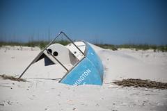 Sandboat (@TheKnollGuy) Tags: ocean beach sailboat island coast sand north east shipwreck carolina masonboro capsize tipped