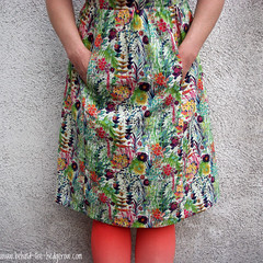 Simplicity 1652 Liberty - skirt and tights detail (laurabehindthehedgerow) Tags: dress sewing simplicity