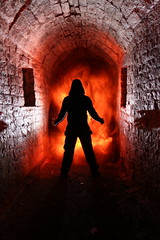 From Hell.  24/52 (FadeToBlackLP) Tags: longexposure lightpainting silhouette canon fire moody darkness bare flash hell evil tunnel stockport devil tamron rgb 52 feux marple urbex 17mm 2452 1755mm romanlakes longexposurephotography radiotrigger project52 ledlenser yongnuo lpuk fastchris lpwalliance rgbtorch fadetoblacklightart timjgamble78 lightpaintingworldalliance