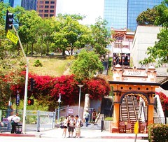 Downtown LA -  Hill Street / Angels Flight / Bunker Hill / Baffled Tourists (ramalama_22) Tags: la downtown los angeles california weekend ghost town angels flight funicular railroad derailment homeless bunker hill el camino real bell tourists baffled map bulldozed urban renewal sterile trash bin returnable beverage container deposit fence bag main business district shortest out service accdent mishap failure drv fefund