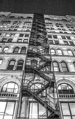 Goin' Up (thebrooklyndodger) Tags: new york city nyc white black night stairs walking fire photography photo escape around