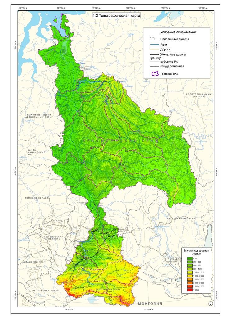 карта бассейна реки Енисей