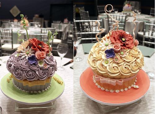 Oversized Cupcake Wedding Cake Centerpieces
