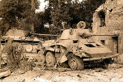 A destroyed SdKfz 234 'Puma' and PzKpfw V 'Panther' - Normandy