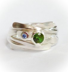 Green Tourmaline and Sapphire Circles ring in Silver