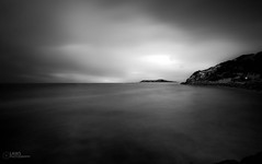 Island on the Horizon (Laws Photography | www.lawsphotography.com) Tags: ocean longexposure sea blackandwhite bw white seascape black water monochrome canon dark landscape island horizon smooth melbourne hills le land silky sigma1020mm ndfilter birght ultrawideangle longshutterexposure nd10stop nd1000nd400