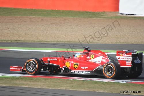 Fernando Alonso in his Ferrari during Free Practice 1 at the 2014 British Grand Prix