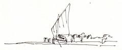 009 (sebastjancvelbar) Tags: sea white black art pen watercolor boat sketch croatia wave croquis pasman kornati