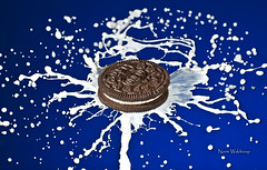 Milk's Favorite Cookie (Pragmatic1111) Tags: blue white macro milk droplets drops nikon cookie chocolate explosion drop oreo splash splatter d700 milksfavoritecookie sb700 sb910 sigma180mmf28