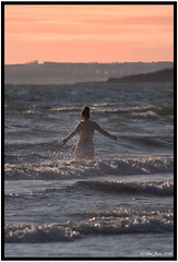 Late evening dip (Dai Jazz) Tags: sunset sea water wales swimming seaside waves bathing sands dunravenbay canon7d bccsummertrek