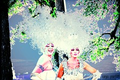 the girls happy Pride week (Sonja Parfitt) Tags: trees vancouver manipulated hair star bc pride parade