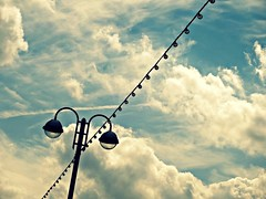 Summer skies (jayneyyy) Tags: street blue light summer england sky cloud color colour nature lamp clouds seaside streetlight skies colours natural pastel bluesky pastels lantern colourful cleethorpes pastelcolours pastelblue