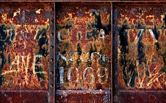 Ternary Equation (Junkstock) Tags: aged abandoned artifact artifacts abstract abstraction arizona altebenutztegegenstände chaotic chaos color corrosion corroded decay decayed distressed graffiti graphics graphic iron numbers number old oldstuff oldusedobjects patina railroad relic rivets rust rusty rusted rustyandcrusty textures texture typography type transportation transport trains train text weathered