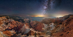 A Vast Eroded Land (Wayne Pinkston) Tags: cedarbreaks cedarbreaksnationalmonument utah canyon canyoncountry eroded night sky nightsky nightphotography nightlandscape nightscape waynepinkston lightcrafter wwwlightcraftercom wwwwaynepinkstonphoto star strars starrynight starscape milkyway galaxy cosmos theheavens astrophotography landscapeastrophotography widefieldastrophotography longexposure wideangle nikon