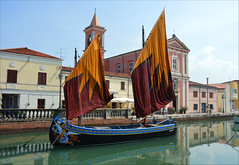 Memories of a colourful past (angelsgermain) Tags: boat sails colours canal water church reflections summer light traditional museum museogalleggiantedellamarineriadellaltoemedioadriatico portocanale cesenatico emiliaromagna italia italy